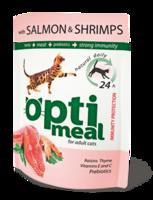 Optimeal для кошек с лососем и креветками
