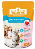 КЛУБ 4 ЛАПЫ для кошек с лососем и тунцом