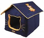 Dezzie Домик для кошки синий, 42*35*35см