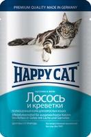 Happy Cat Кусочки в желе Лосось Креветки