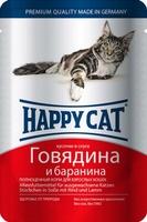 Happy Cat Кусочки в соусе Говядина Баранина