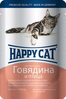 Happy Cat Кусочки в соусе Говядина Птица