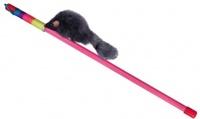 Dezzie Игрушка для кошки Дразнилка Серая Мышь пластик 46см (10шт/уп) - 1шт