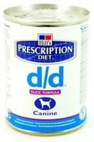 Hill's D/D для собак, лечение пищ. аллергии, утка