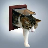 ТРИКСИ Дверца для кошки 15,8х14,7см, с 4 функциями, коричневая