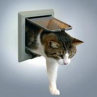 ТРИКСИ Дверца для кошки 15,8х14,7см, с 4 функциями серая