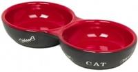 Nobby Миска Cat, двойная, красно-черная